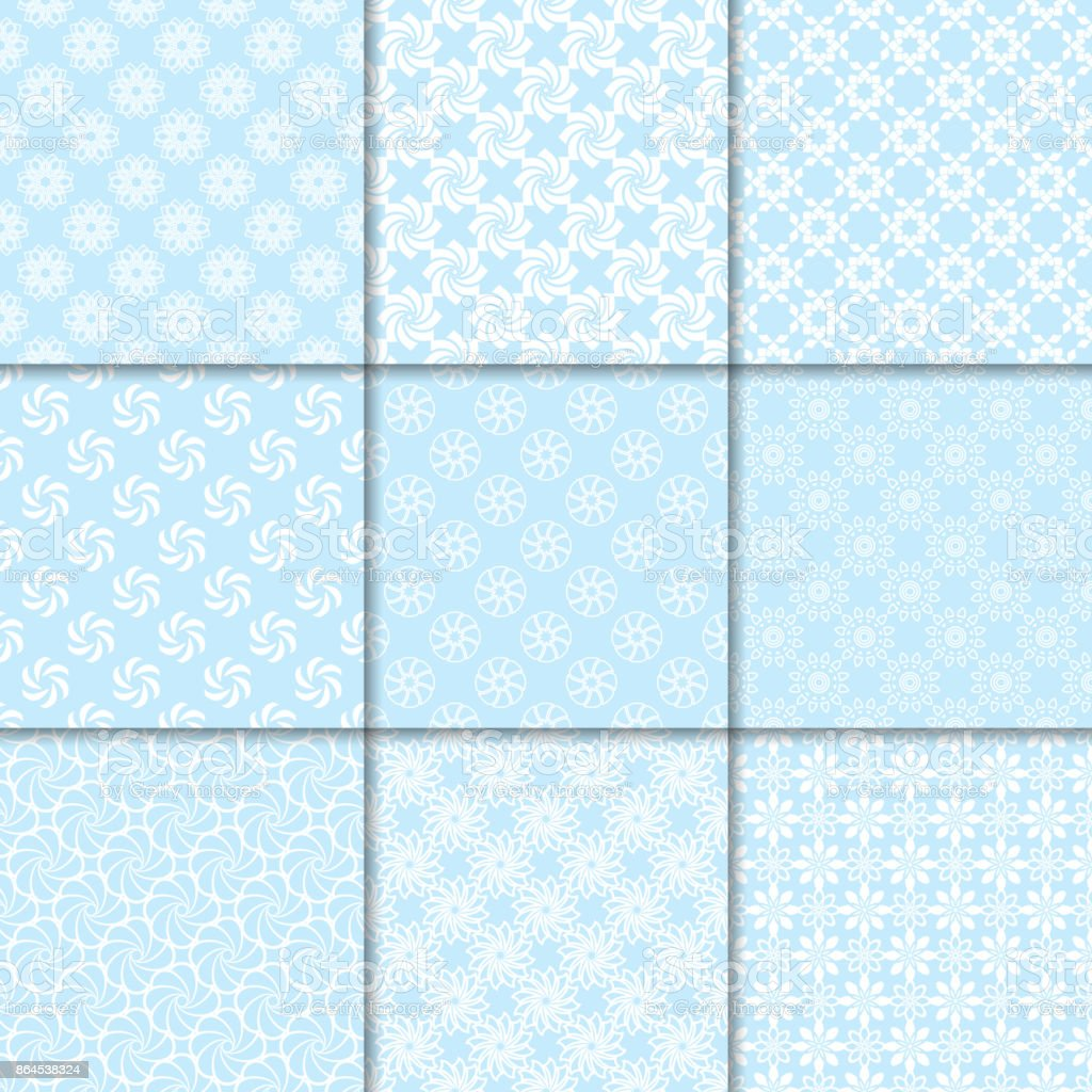 Motifs Floraux Sans Soudure Ensemble De Milieux De Papier Peint Bleu
