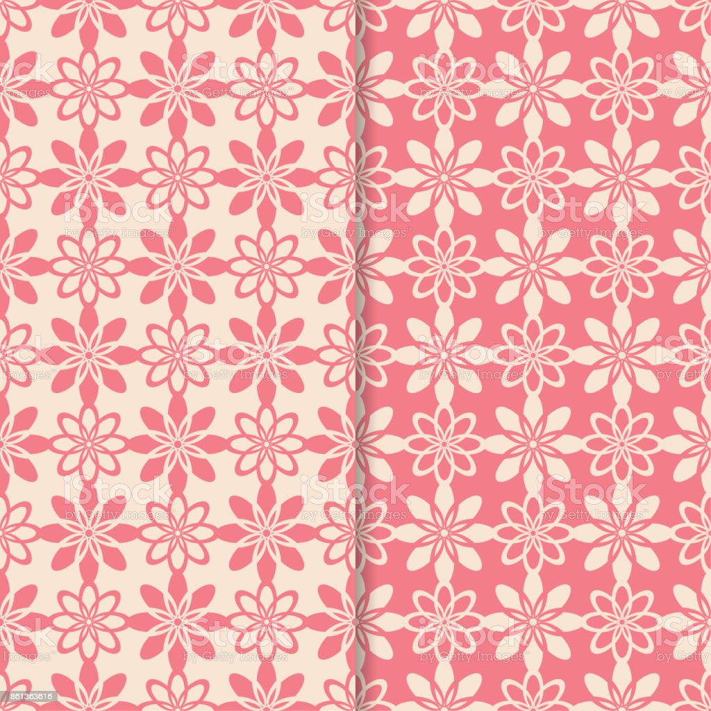 花のシームレスなパターンピンクの縦の壁紙の背景のセット
