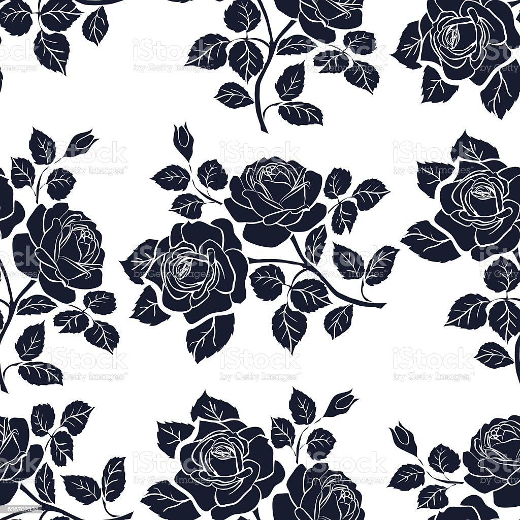 Floral seamless pattern. Floral seamless texture with roses. Vector...