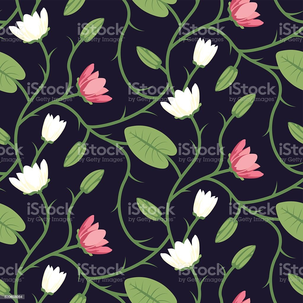 Floral Seamless Vector Pattern Design Pink White vector art illustration