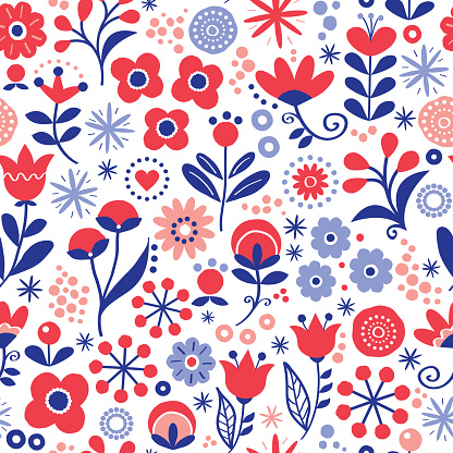 Floral seamless vector pattern - hand drawn vintage Scandinavian style textile design with red and navy blue flowers on white