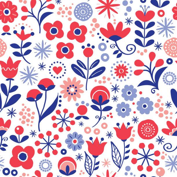 bildbanksillustrationer, clip art samt tecknat material och ikoner med blommig sömlös vektor mönster - hand dras vintage skandinavisk stil textildesign med röda och marinblå blommor på vit - swedish nature