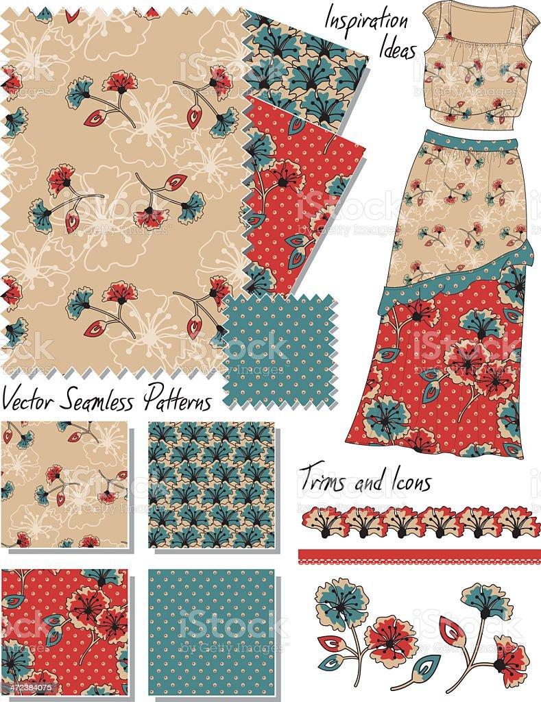 Sin costuras Floral Vector patrones. - ilustración de arte vectorial