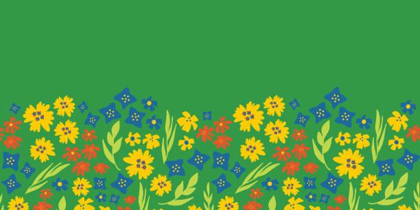 Floral seamless vector repeat border. Spring green vector art illustration