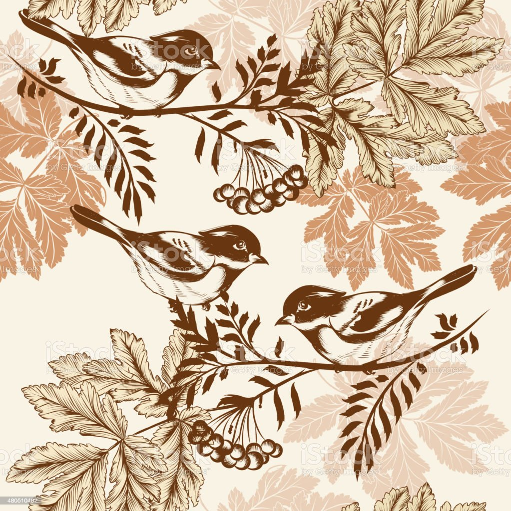 Floral Seamless Wallpaper Pattern With Birds Stock Illustration