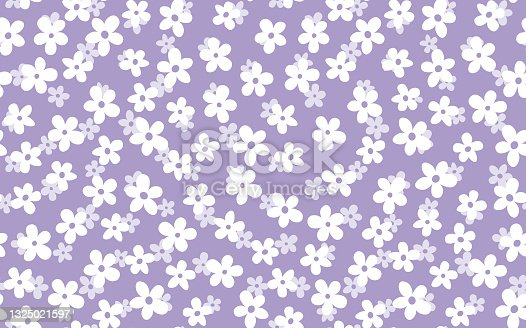 istock Floral seamless with hand drawn color flowers. Cute summer background. Modern floral compositions. Fashion vector stock illustration for wallpaper, posters, card, fabric, textile 1325021597