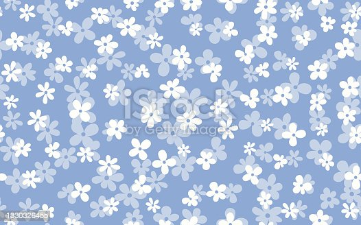 istock Floral seamless with hand drawn color flowers. Cute summer background. Modern floral compositions. Fashion vector stock illustration for wallpaper, posters, card, fabric, textile 1330326455