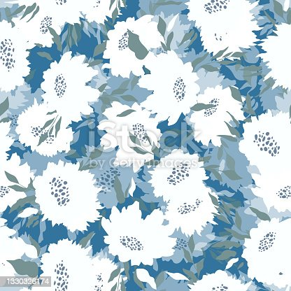 istock Floral seamless with hand drawn color roses. Cute summer background with flowers and leaves. Modern floral compositions. Fashion vector stock illustration for wallpaper, posters, card, fabric, textile 1330326174