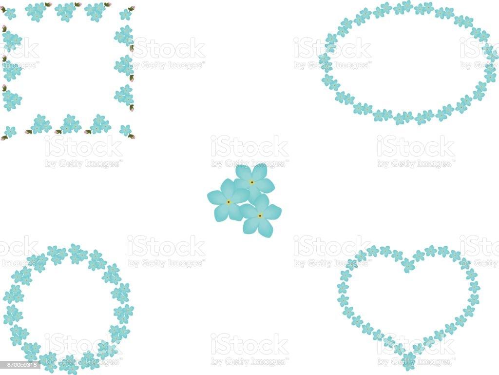 Ilustración de Conjunto Floral Azul Nomeolvides Flores Marcos ...
