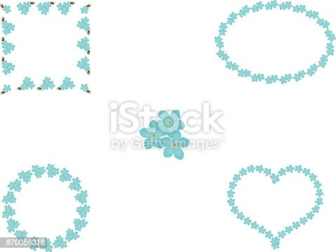 istock Floral set of forget-me-not blue flowers frames, vector 870056318