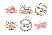 Bright logo for flower shop. Decorative frame template for floral business. Hand drawn nature banner vintage organic decoration sticker text vector illustration.