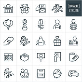 A set of florist icons that include editable strokes or outlines using the EPS vector file. The icons include a florist, floral shop, flowers, fresh flowers, teddy bear, gifts, card, love note, balloons, flower in vase, rose, apron, merchant, calendar, chocolate, flower delivery, couple, gift card, chocolate strawberry, delivery van and concepts of love and gift giving.