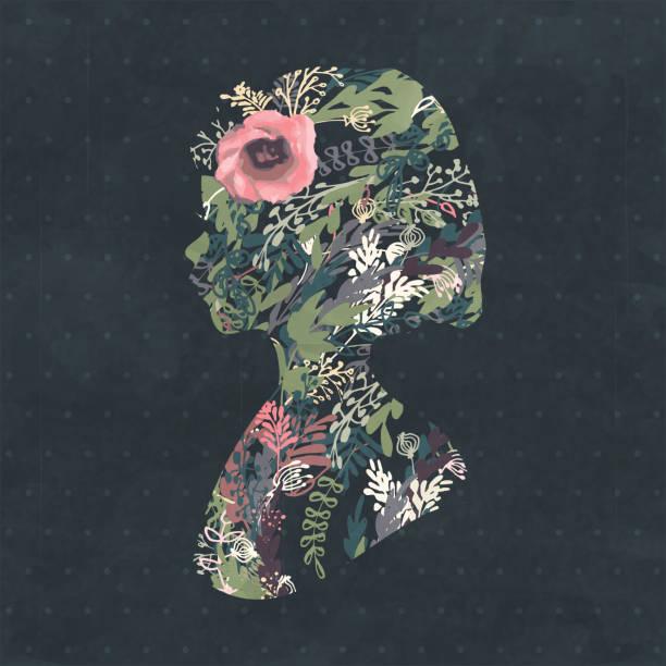 floral kontur porträt von eine schöne mädchen im profil - pflanzenhaar stock-grafiken, -clipart, -cartoons und -symbole