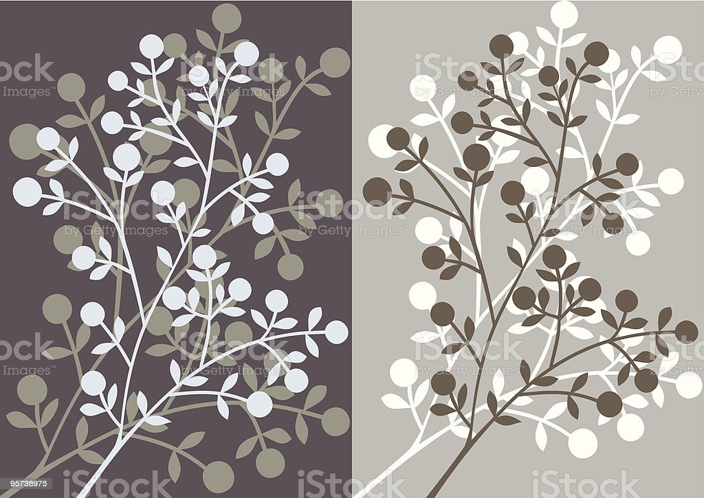 Floral silhouettes background vector art illustration