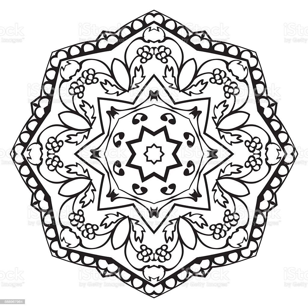 Floral Simple Mandala Stock Illustration - Download Image