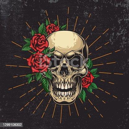 istock Floral Skull poster design. 1299108302