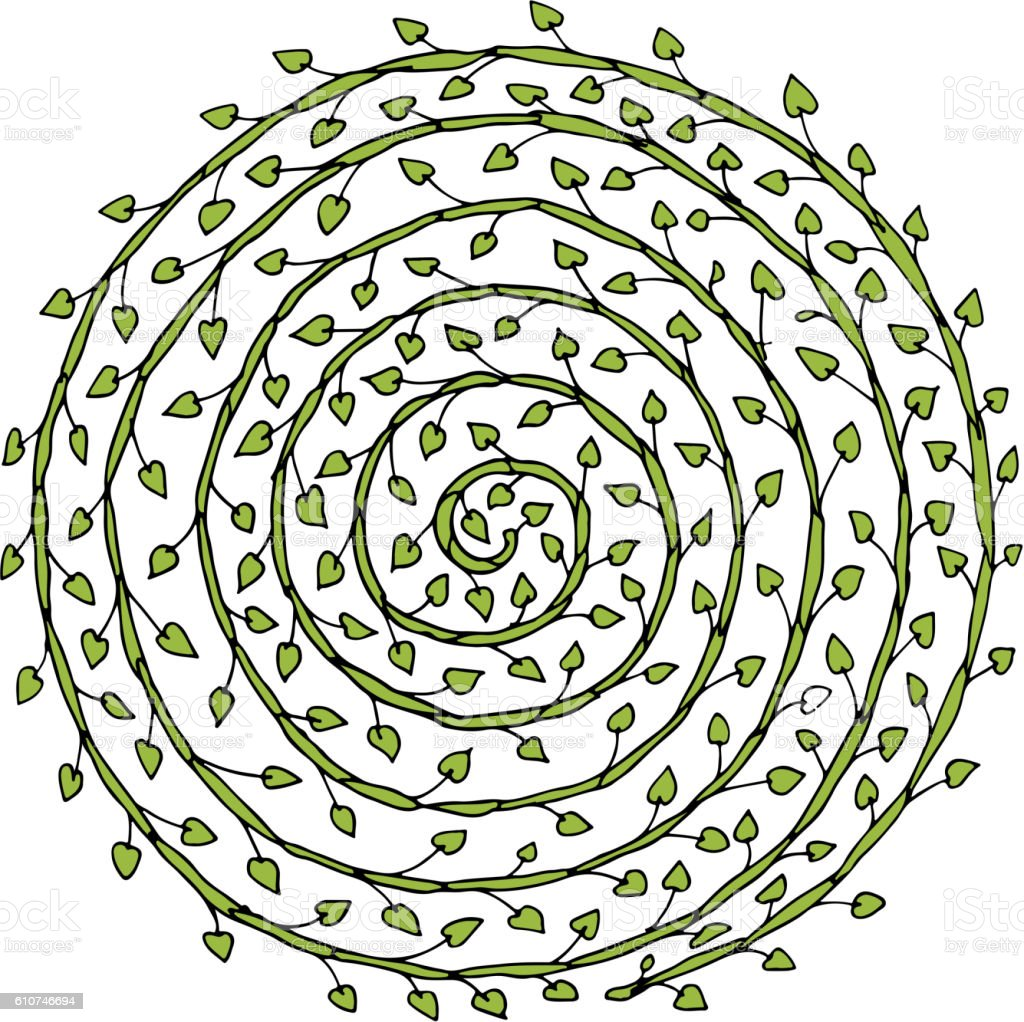 Floral Spiral Ornament Hand Drawn Sketch For Your Design Stock ...