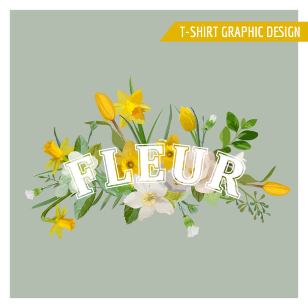 floral spring graphic design - for t-shirt, fashion, prints - spring fashion stock illustrations, clip art, cartoons, & icons