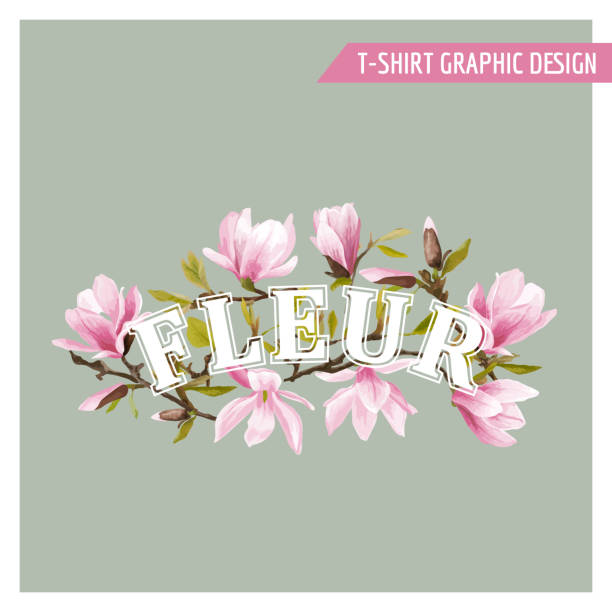floral spring graphic design for t-shirt, fashion, prints - spring fashion stock illustrations, clip art, cartoons, & icons