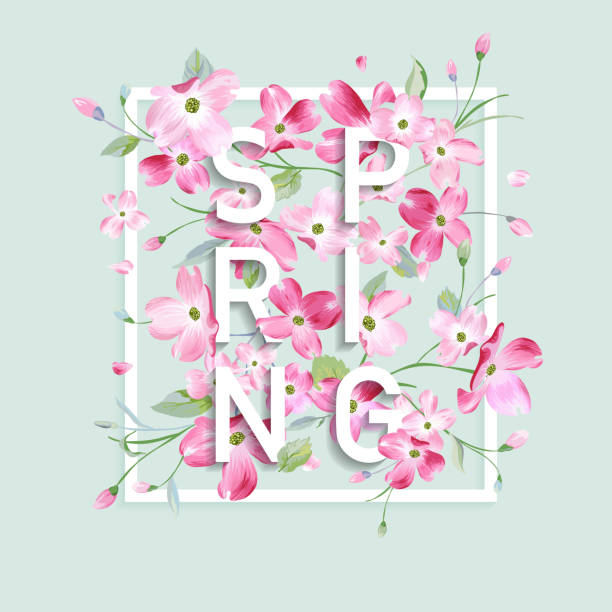 floral spring graphic design with cherry blossom flowers for t-shirt, fashion prints in vector - spring fashion stock illustrations, clip art, cartoons, & icons