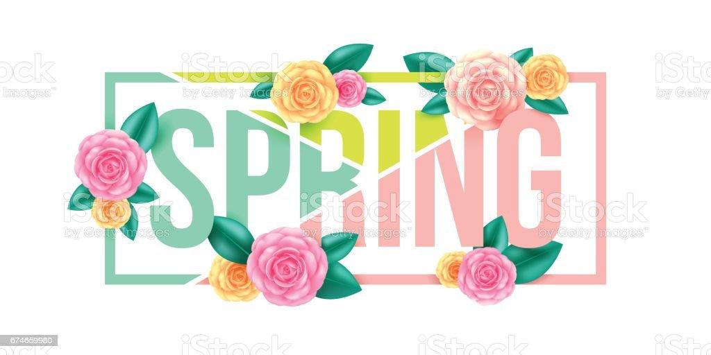 Floral Fruhling Grafik Designspring Brief Mit Blumen Fur Spring