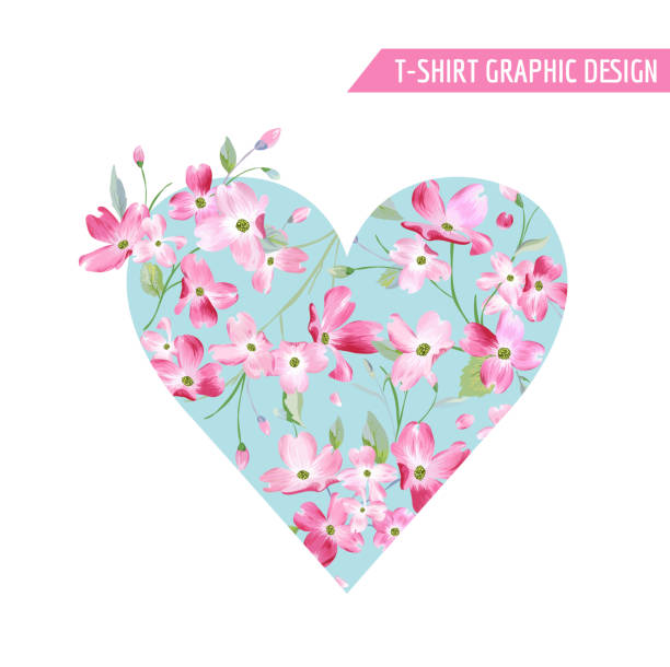floral spring heart design with cherry blossom flowers for t-shirt, fashion prints in vector - spring fashion stock illustrations, clip art, cartoons, & icons
