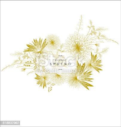 Floral spring ornament banner golden elegant text