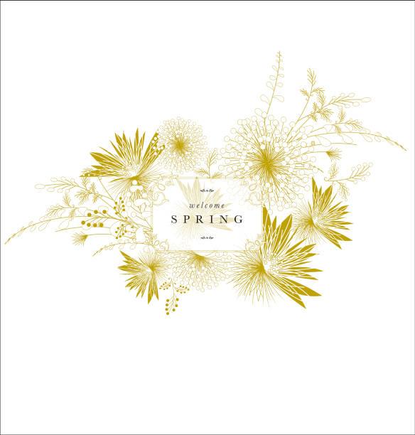 Floral spring ornament banner golden elegant text vector art illustration