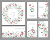 Floral spring templates with cute bunches of pink poppies. For
