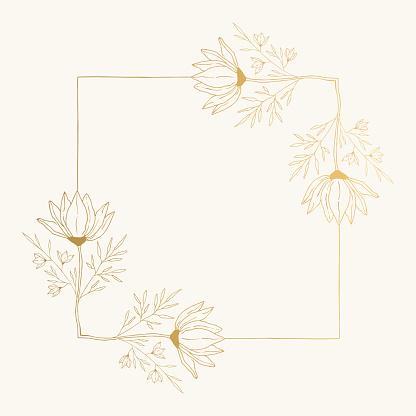 Floral square frame with decorative botanical corners. Ornate fancy borders. Golden vector illustration.