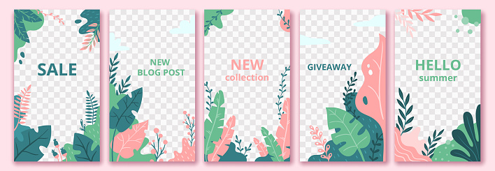 Floral stories template. Garden flora poster, flowers composition layout and trendy social media story templates vector set