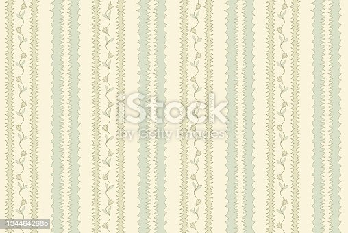 istock Floral stripy seamless textile pattern. Flourish tiled oriental ethnic background. Abstract stripe  ornament with lines and fantastic flowers and leaves. 1344642685