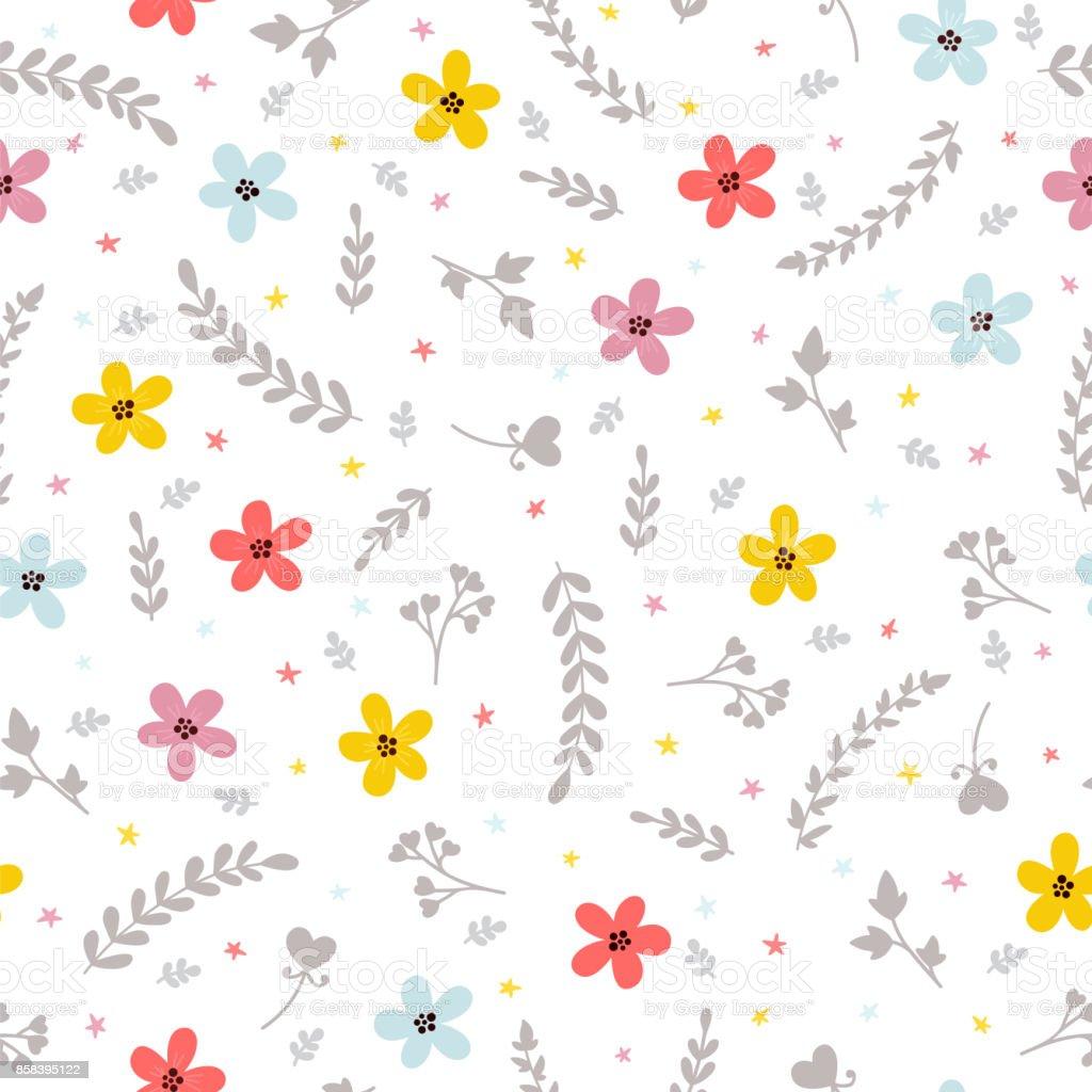 Ilustración De Fondo Con Estilo Floral Lindo Patrón Transparente Con