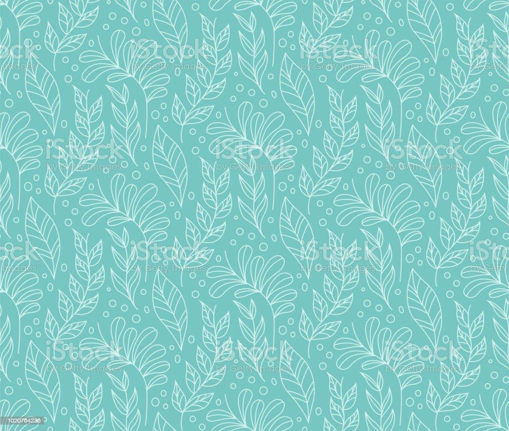 Stijlvolle naadloze bloemmotief. Vector blad achtergrond. Stof Ornament patroon. - Royalty-free Abstract vectorkunst