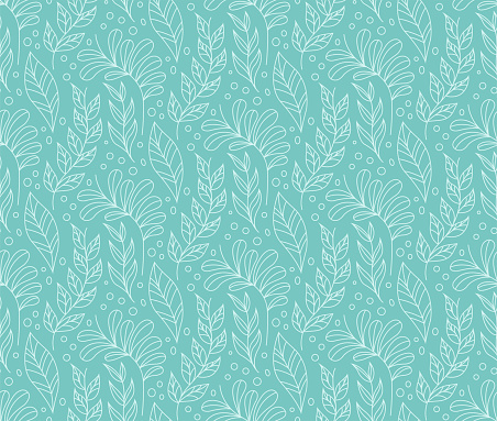 Floral Stylish Seamless Pattern. Vector Leaf background. Fabric Ornament texture. clipart