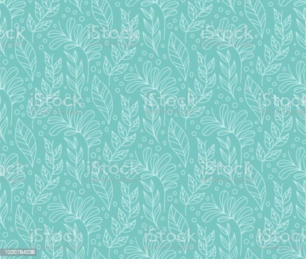 Stijlvolle Naadloze Bloemmotief Vector Blad Achtergrond Stof Ornament Patroon Stockvectorkunst en meer beelden van Abstract