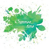 Floral summer background with leaves and flowers. Watercolor Texture. Vector foliage banner
