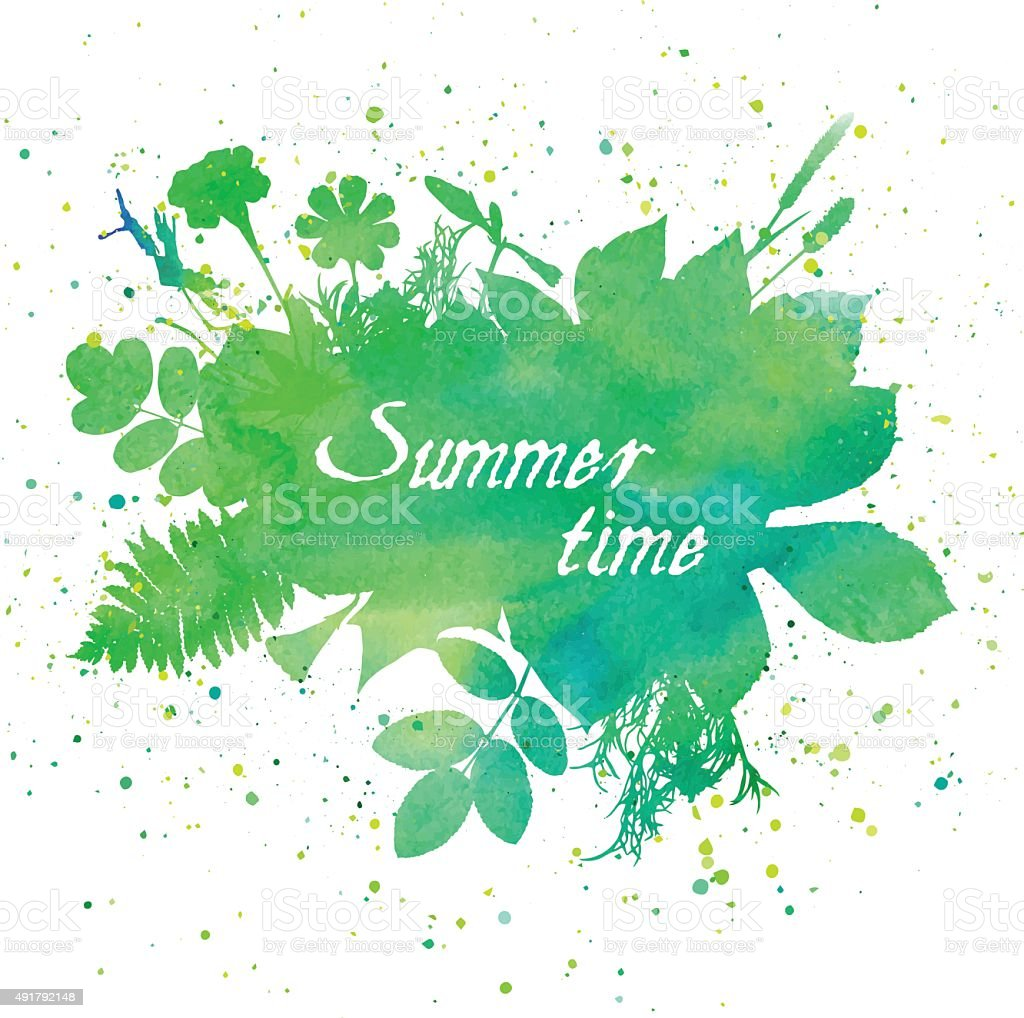 Floral summer background with leaves and flowers vector art illustration