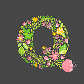 Floral summer Letter Q. Flower Capital wedding Uppercase Alphabet. Colorful font with flowers and leaves. Vector illustration Grotesque scandinavian style.