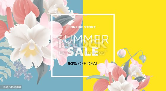 Floral summer sale banner template design, bouquets of orchid, pink Dendrobium orchid, white Cattleya orchid, red Anthurium flowers and fern on blue and yellow background, pastel theme