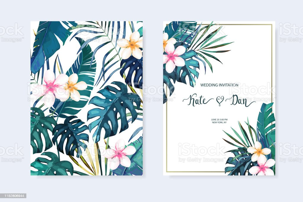 Floral Summer Set Wedding Invitation Save The Date Rsvp Invite Card Vector Illustration Frame Template Watercolor Style Tropic Background Stock
