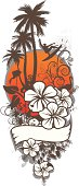 floral surf emblem with hibiscus tropical plants palm trees flamingo and surfer in aereal