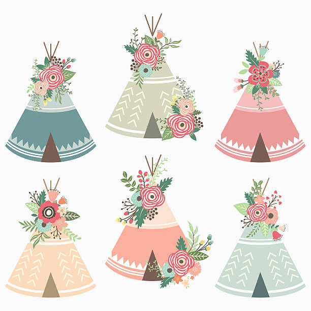 Floral Teepee Elements- illustration A vector illustration of  Floral Teepee Elements.  teepee stock illustrations