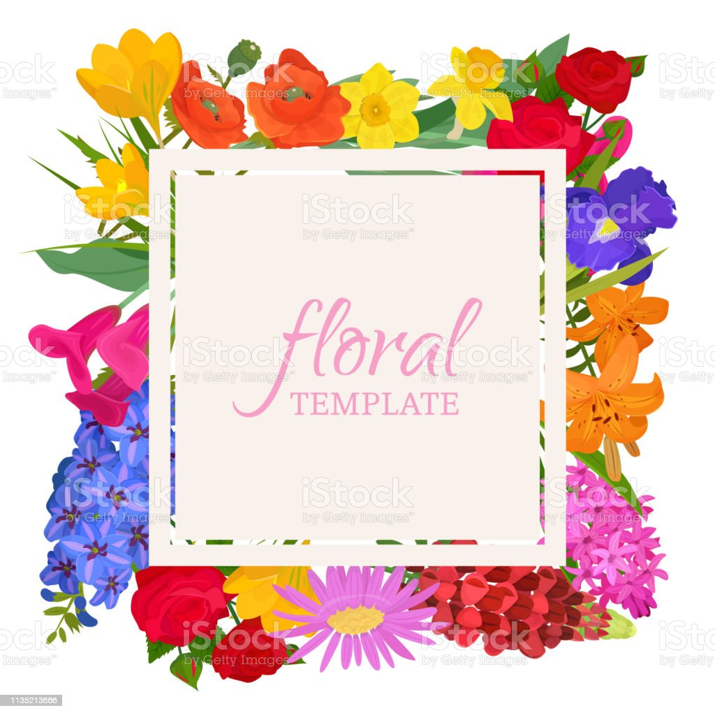 Floral template for flower shops or invitation cards. Beautiful...