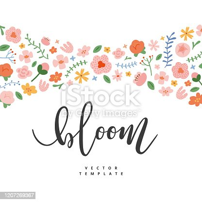 istock Floral template with copy space, spring card with wildflowers, garden bouquet with bloom lettering, inspirational card, cute hand drawn illustration. Lettering card for flower shop, invitation 1207269367