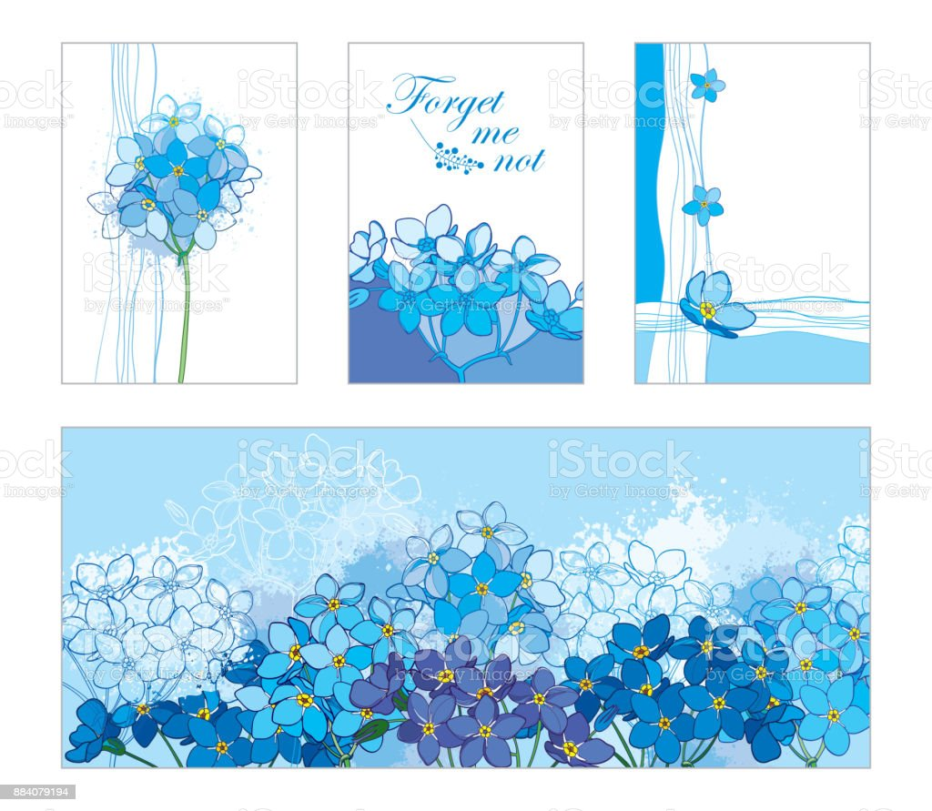 floral templates in blue with contour forgetmenot flower for spring