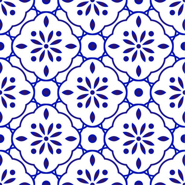 kwiatowy wzór płytek - kultura portugalska stock illustrations