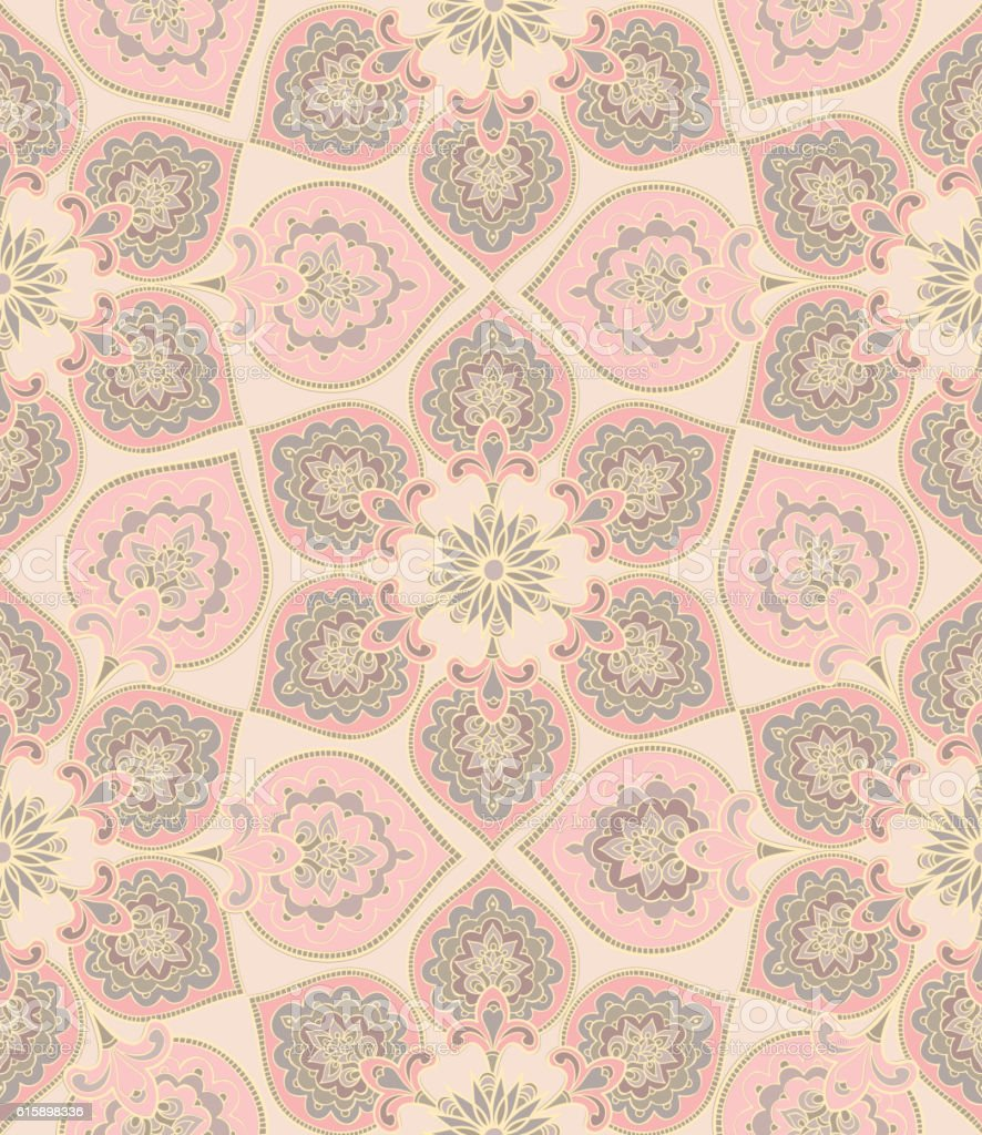floral tile seamless pattern. Arabic flower mandala background. Flourish ornament vector art illustration