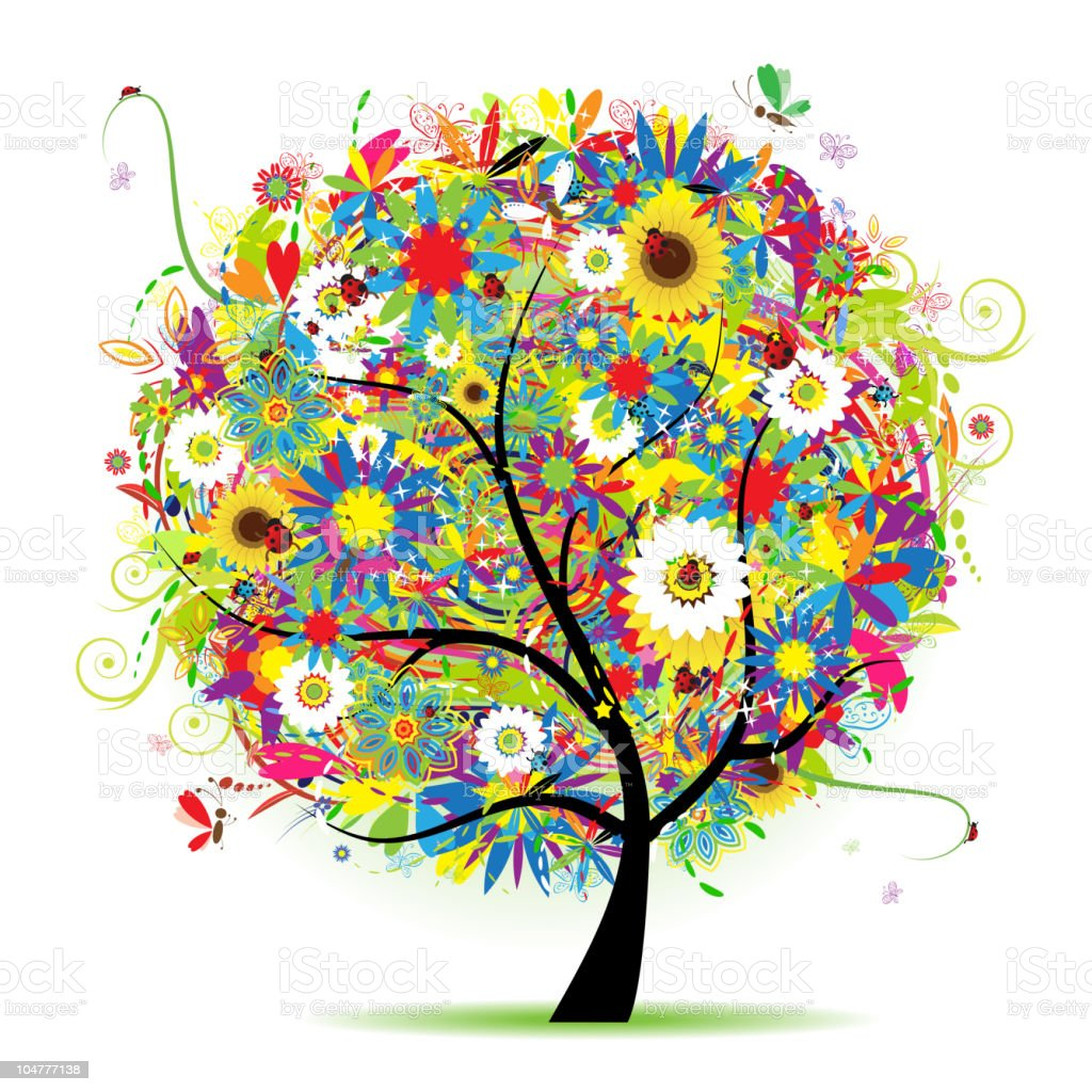 Floral tree beautiful royalty-free stock vector art
