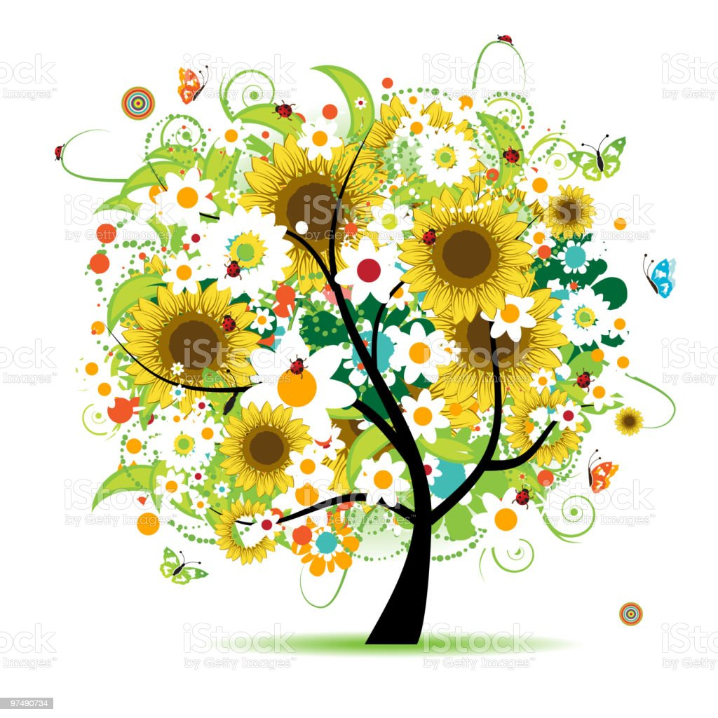 Floral tree beautiful royalty-free floral tree beautiful stock vector art & more images of abstract